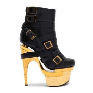 Versace triple platform black and gold booties